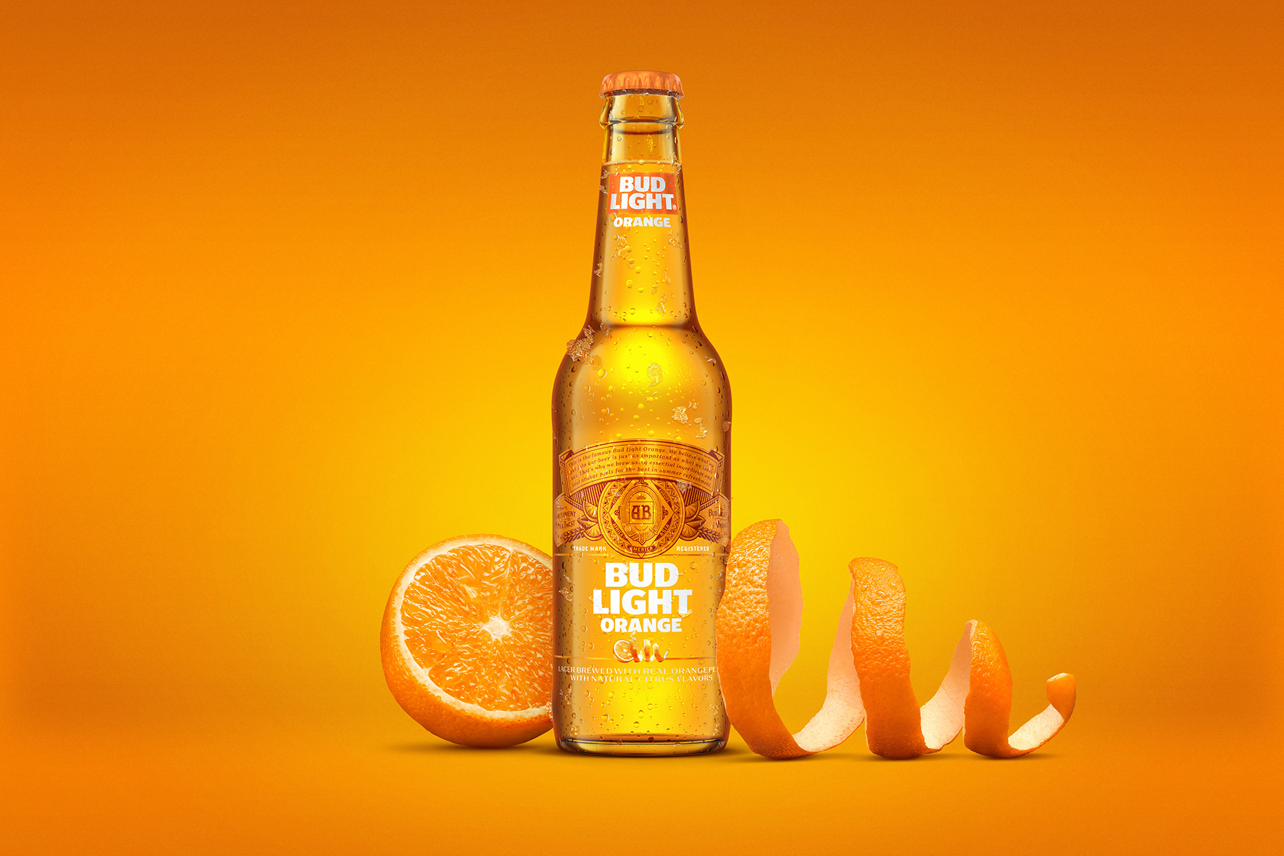 Bud Light Beer with orange peels, styled by Drink Stylist Takako Kuniyuki