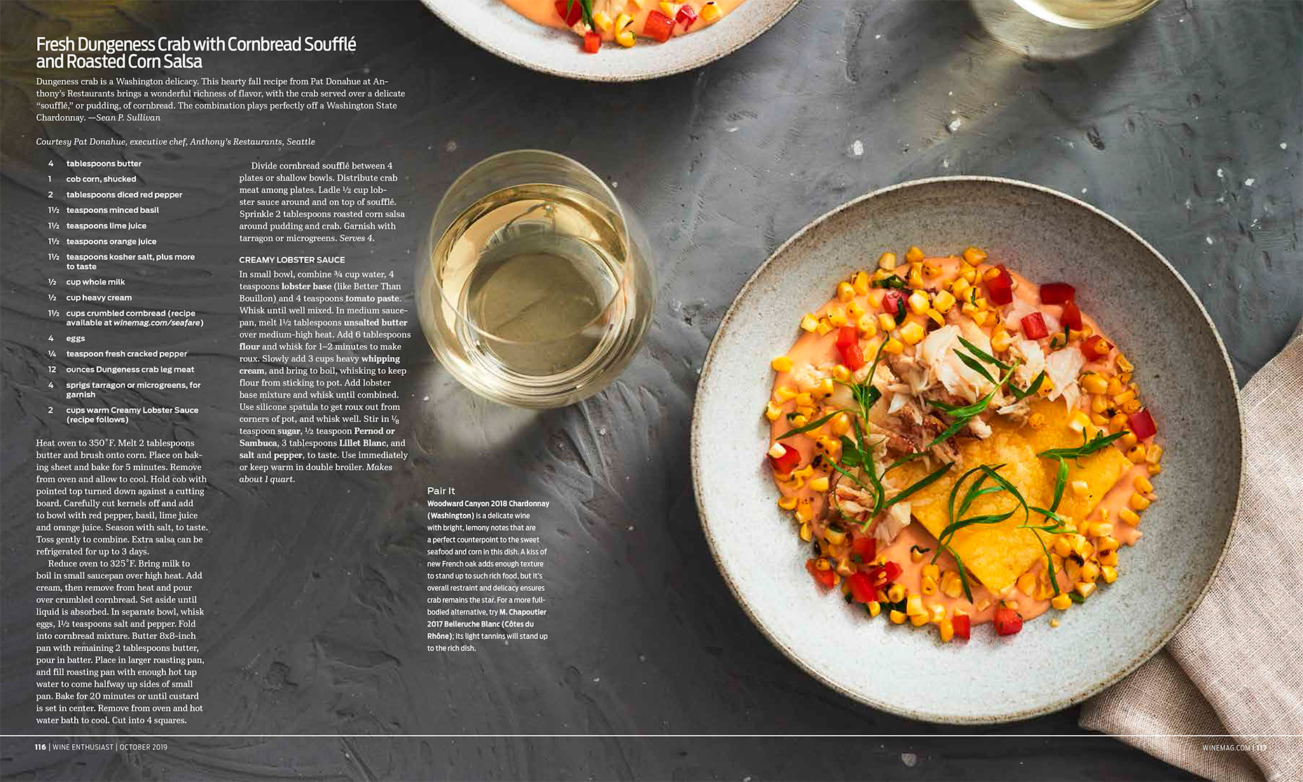 Wine Enthusiast Sea Fare Article about crab meat, Food Styling by Takako Kuniyuki New York