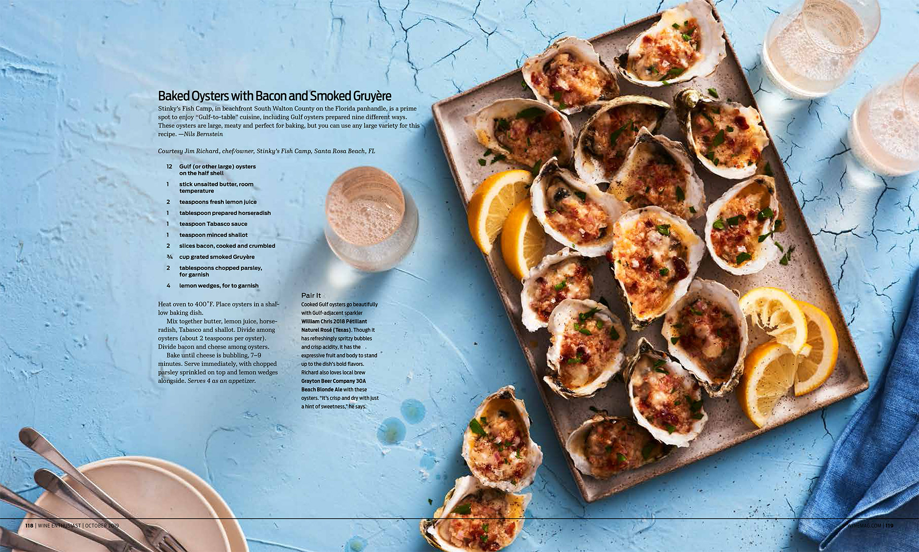 Wine Enthusiast Sea Fare Article about baked oysters, Food Styling by Takako Kuniyuki New York
