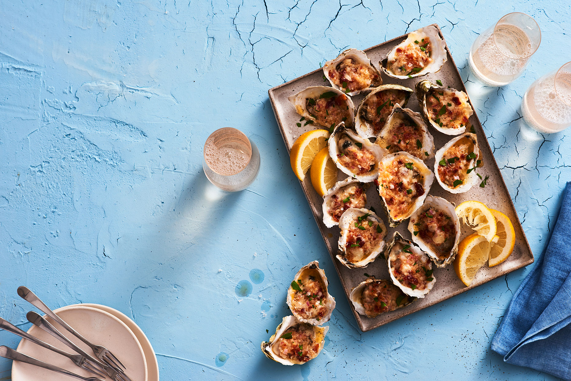 Wine Enthusiast Sea Fare Article about baked oysters, by Food Photographer Adrian Mueller New York